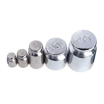 SODIAL(R)Peso 1g 2g 5g 10g 20g Cromado Calibracion Gramo peso de Escala