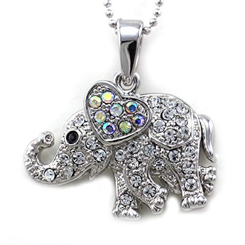 Soulbreezecollection Heart Shaped Ear Elephant Necklace Charm Pendant Animal Lover Gift for Mom Women