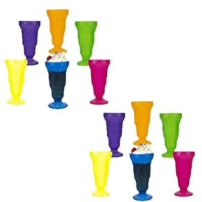 NEON PLASTIC SODA GLASSES (UPC'D) - Party Supplies - 12 Pieces: Toys & Games