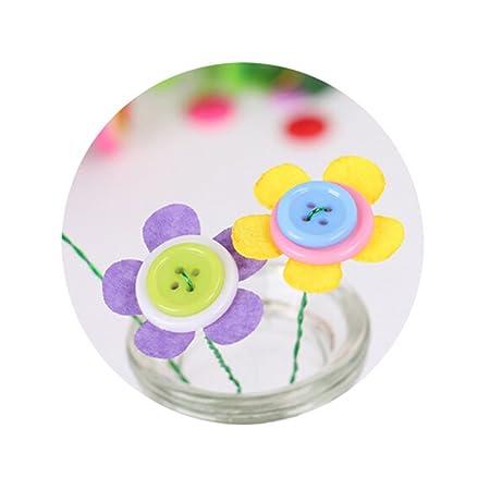 TOYMYTOY Botón artificial Ramo de flores Rompecabezas Niño DIY Artesanías hechas a mano Juguetes educativos Decoración del partido en casa (Flores de cinco ...