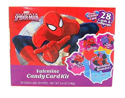 Lollipops Day Valentines (Spiderman Valentine's Day Candy Card Exchange Kit, 28 Count)