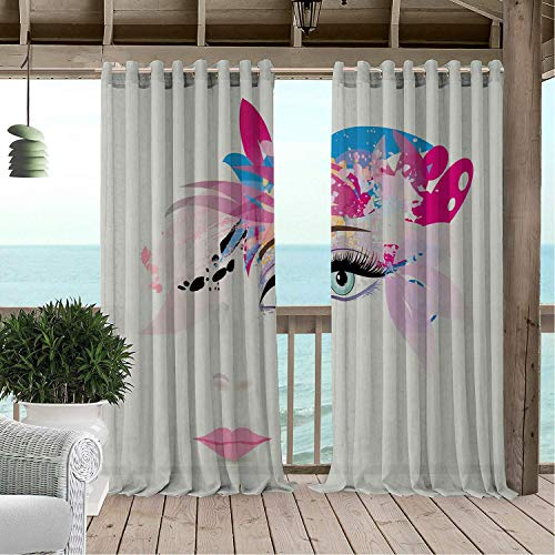(Linhomedecor Patio Waterproof Curtain Face Fashion Themed Arrangement Abstract Elements Floral Foliage and Leaves Pattern Multicolor Porch Grommet Printed Curtains 72 by 96 inch)