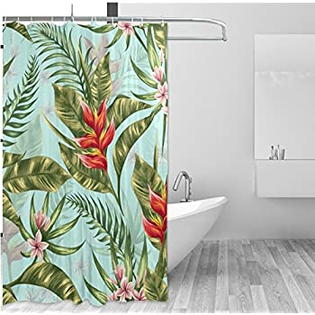 ALAZA Tropical Theme Home Decor Shower Curtain Set By Hawaii Natural Palm Tree Leaves Floral