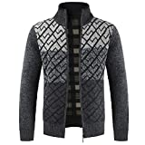 kemilove Men's Fashion Men's Zipper Collar Knit Cardigan