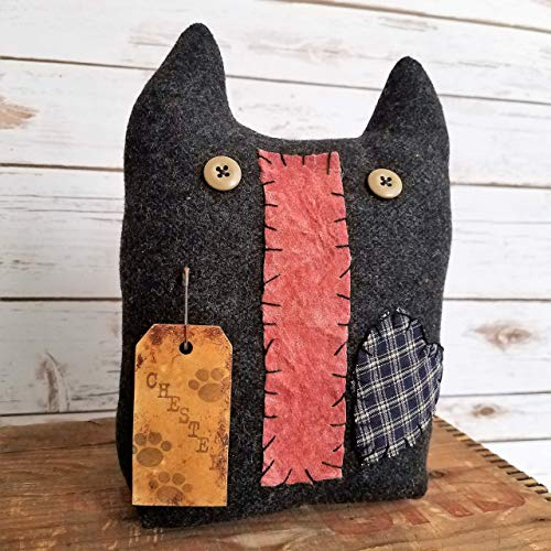 Primitive Folk Art Chester Kitty Cat Shelf Sitter Art Doll