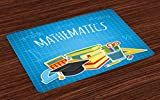 Lunarable Mathematics Classroom Place Mats Set of 4, Education Science Concept School and College Supplies Set Books Cap, Washable Fabric Placemats for Dining Room Kitchen Table Decoration, Multicolor