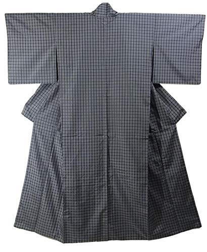 高度出します学校教育リサイクル 着物  紬 花織風 格子模様 裄68.5cm 身丈162cm 正絹 袷