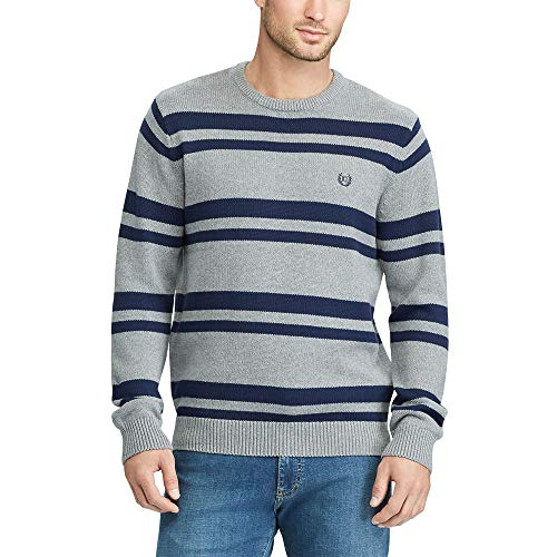 Chaps Men's Striped Crewneck Long-Sleeve Sweater Steel HTR/NVY ()