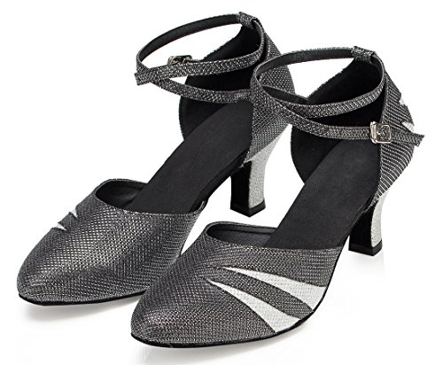 Tda Damesschoenen Half Hiel Glitter Latin Dansschoenen Tango Jazz Salsa Schoenen Zwart