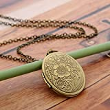 Xiaodou Vintage Engraved Flower Locket Picture Pendant Necklace for Women Girls