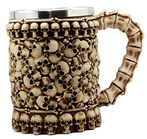 Ebros Large Ossuary Heaps of Skulls And Bones Graveyard Mug Beer Stein Tankard Coffee Cup For Drinking 14oz Alchemy Macabre Wizards And Druids Myths And Legends Themed -