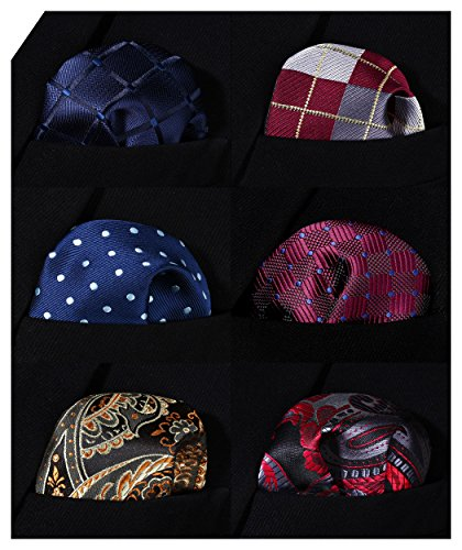 HISDERN 6 Piece Assorted Woven Men's Pocket Square Handkerchief Wedding Gift by HISDERN