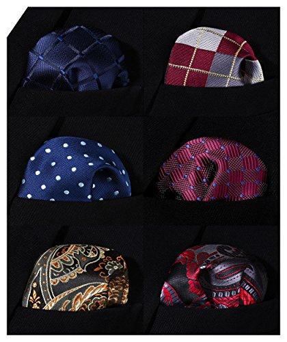 HISDERN 6 Piece Assorted Woven Men's Pocket Square Handkerchief Wedding Gift by HISDERN