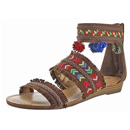 Carlos by Carlos Santana Women's Tangier Flat Sandal, Mustang, 7 Medium US (Carlos Santana Ankle Strap Sandals)