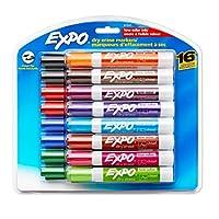 EXPO Marcadores de borrado en seco de bajo olor, punta de cincel, colores surtidos, paquete de 16