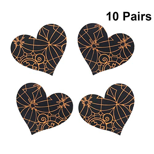 BESTOYARD 10 Pairs Nipple Covers Disposable Pasties Spiderweb Bat Printing Breast Cover for Women Free Size (Heart)