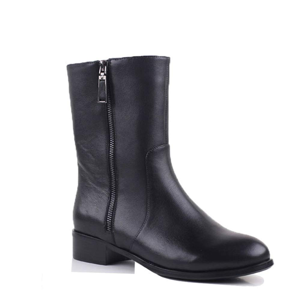 Black GordonKo Women Mid-Calf Boots Genuine Leather Boots Women Short Plush Boots