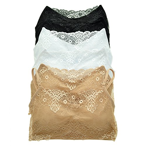 Angelina 6-Pack Spagetti Strap Seamless Top with Lace Modesty Panel, 6-BWB, SE819 O/S