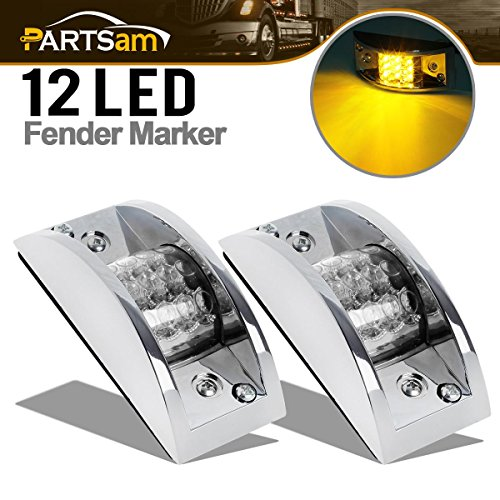 Partsam 2X Amber Rectangular Chrome-Armored Marker Lights 12 Diode Clear Lens, Sealed Yellow Rectangle Led Light Assembly Clear Lens