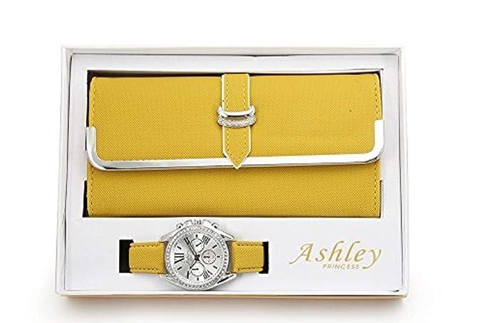 04cd788a6d62 Las mujeres de juego de reloj y cartera - amarillo  Amazon.es  Relojes
