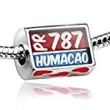 Bead with Hearts 787 Humacao, PR red/blue - Charm Fit All European Bracelets, N