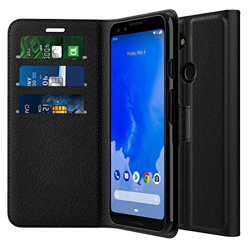 (MoKo Google Pixel 3 Case, [Stand-View Feature] Full Body Shockproof Folio Wallet Case PU Leather Flip Cover with Card Slot Compatible with Google Pixel 3 - Black)