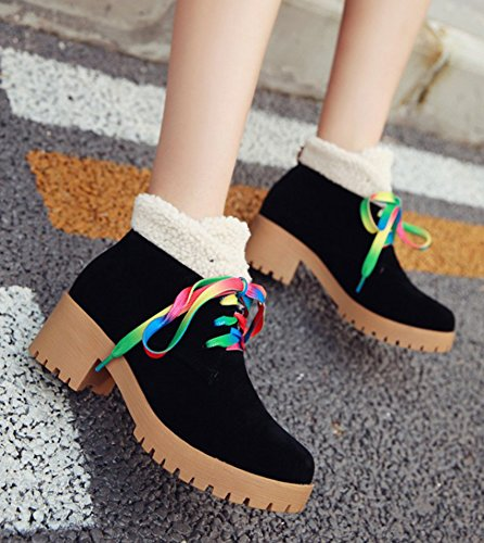 Aisun Womens Casual Comfy Lace Up Faux Fur Round Toe Booties Platform Block Mid Heels Ankle Boots Shoes Black dQpRD