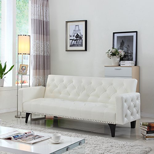 Modern Tufted Leather Sleeper Nailhead