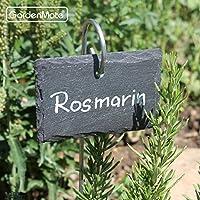 Conjunto de etiquetas para plantas con soporte de metal GardenMate/® 10 unidades, pizarra, 10 x 7 cm, 55 cm