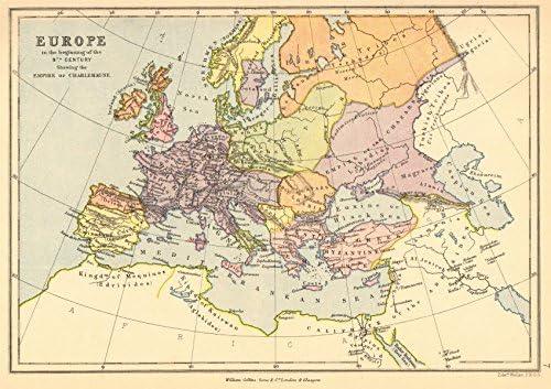 Mapa Europa Siglo Ix.Amazon Com Empire De Carlomagno Europa En El Comienzo Del Siglo Ix 1876 Old Map Antique Map Vintage Map Mapa De Europa S Home Kitchen