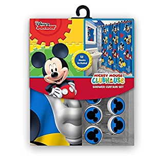 13pc Disney Mickey Mouse Clubhouse Shower Curtain and Hooks Set