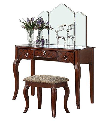 BOBKONA F4193 PDEX-F4193 Vanity Table with Stool Set, Cherry