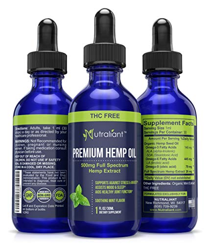 Hemp Oil for Pain Relief - #1 Best Certified Organic 500mg Full Spectrum THC-Free Hemp Oil Extract Drops for Stress, Anti Anxiety, Inflammation, Sleep & Relaxation - Supplement High in Omega 3 + 6