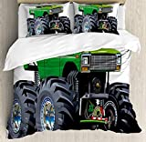 Biggest King Size Comforter Cars 4 Piece Bedding Set King Size, Giant Monster Pickup Truck with Large Tires and Suspension Extreme Biggest Wheel Print, 4 Pcs Duvet Cover Set Comforter Cover Bedspread with 2 Pillow Cases