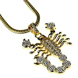"""Scorpion Pendant Chain Yellow Gold Finish Iced-Out Scorpio Bling 36"""" Inch Franco Hip Hop Necklace"""