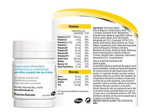 Multicentrum Junior Complemento Alimenticio con 12 Vitaminas y 4 Minerales, Con Vitamina B1, Vitamina B6, Vitamina B12, Hierro, Vitamina C, 20 Comprimidos Masticables Sabor a Fruta 2