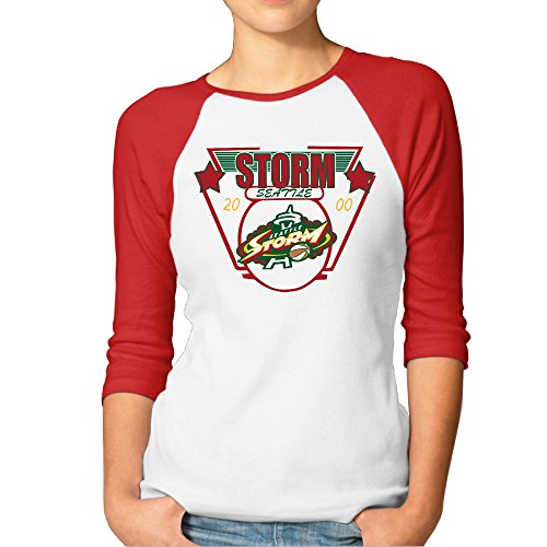 PTCY Seattle Basketball Storm Star Women's Activewear Raglan T Shirts Red L -