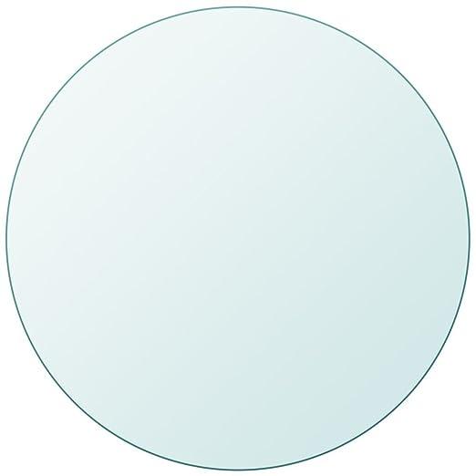 Fesjoy Tablero de Mesa de Cristal Templado Redondo 400 mm 8 mm ...