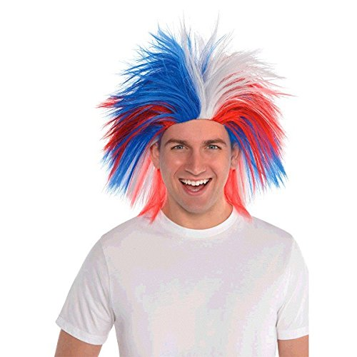 (Amscan Crazy Party Wig Costume, Red, White And Blue)