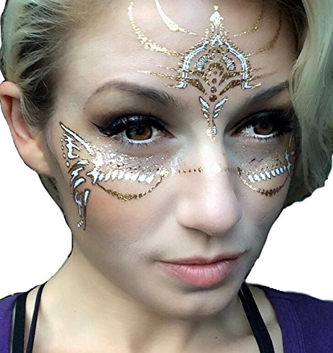 Face Paint Theme (Best page x3, Gold Temporary Tattoos by Golden Ratio Tats, Boho, face paint, gold flash tattoos.)