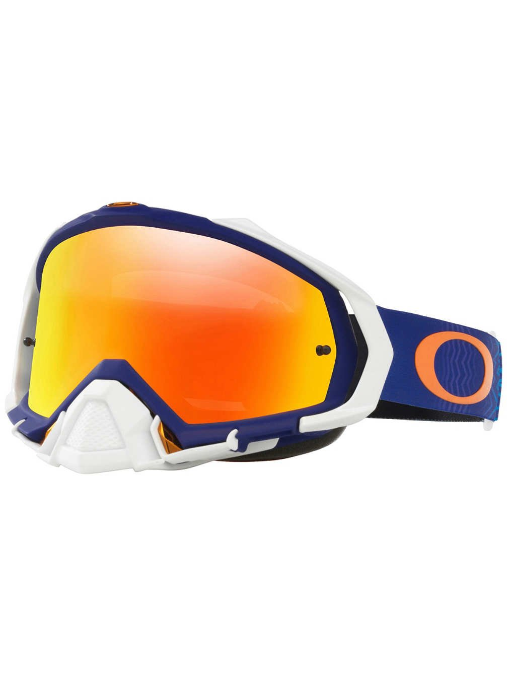 Oakley Mayhem Pro MX Shockwave Men's Dirt Motocross Motorcycle Goggles Eyewear - Blue Orange/Fire Iridium / One Size Fits All
