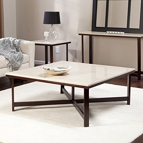 Avorio Faux Travertine Square Coffee Table