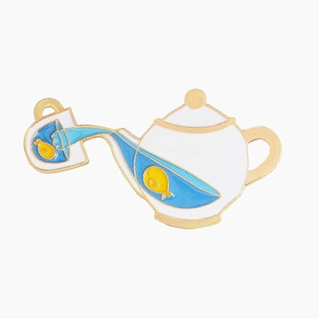Amazon.com: litymitzromq Cute Enamel Lapel Pin, Cartoon Tea ...