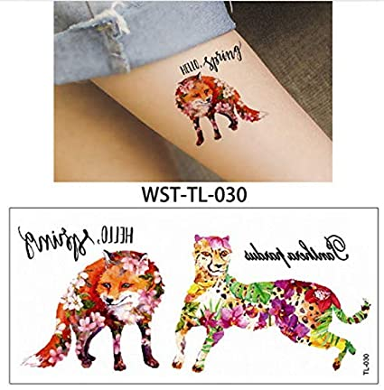 lijinjin Zorro Animales Tatuajes Temporales para Mujeres Niños ...