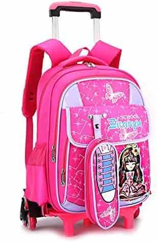 AXDNH Large Capacity Trolley Bag boy Girl Primary School Nylon Backpack  Detachable Three-Wheeled Trolley 87057b1071ccb