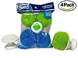 Bolrin Scratch Free Hard Polyester Pot & Dish Scrubber – 4 Pack Pan Scourer (Green/Blue)