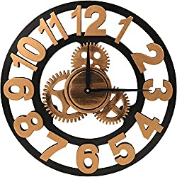 ShuaXin 18 inch 3D Vintage Industrial Gear Wall Clock Golden Big Arabic Numerals Shabby Wooden Wall Clock Large Round Non-Ticking Silent Quartz Wall Clocks Decoration Wall Art Clock (Not Cover Gold)