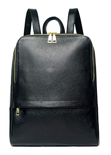 Coolcy Hot Style Women Real Genuine Leather Backpack Fashion Bag Black