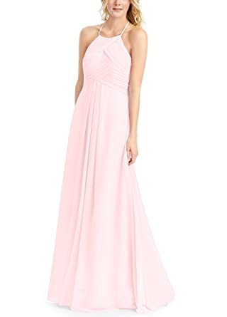 Doramei Womens Prom Dress A-Line Floor Length Chiffon Pleated Backless Simple Halter Neck Bridesmaid