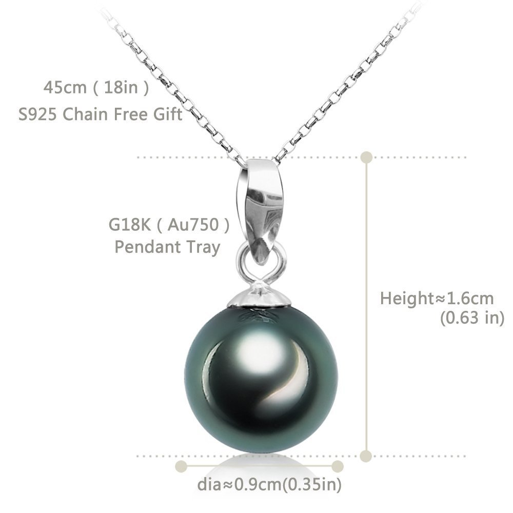 75ae6afa4 Amazon.com: VIKI LYNN Tahitian Cultured Black Pearl Pendant Necklace 9-10mm  Round Sterling Silver Jewelry for Women: Jewelry